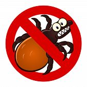 stock photo of parasite  - Anti parasite sign with a funny cartoon tick - JPG