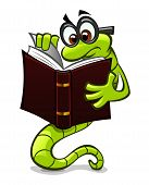 image of bookworm  - Pensive green cartoon bookworm reading a book - JPG
