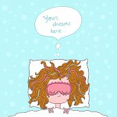 picture of fat lip  - abstract illustration about girl dreams and wishes with doodles - JPG