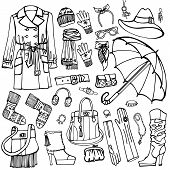 foto of outerwear  - Outline Fashionable female outerwear and accessories set on Sketchy style - JPG