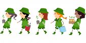 stock photo of stickman  - Illustration of Girl Scouts Carrying Materials Used or Planting Trees - JPG