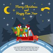 image of xmas tree  - Christmas and New Year greeting card with delivery van carry a Christmas tree and gifts goes on winter road in Xmas eve - JPG