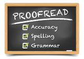 picture of grammar  - detailed illustration of a blackboard with Proofread concept - JPG