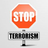 stock photo of extremist  - detailed illustration of a red stop terrorism sign - JPG