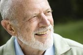 picture of 70-year-old  - Closeup Profile on a Smiling Old Man With a Grey Beard - JPG