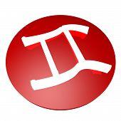 picture of gemini  - Gemini symbol over red button 3d render - JPG