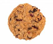 image of baked raisin cookies  - Homemade cranberry oatmeal raisin cookie isolated on white - JPG