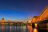 picture of koln  - Cityscape of Cologne from the Rhine river at night time - JPG