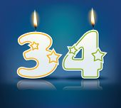 picture of candle flame  - Birthday candle number 34 with flame  - JPG