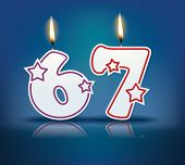 picture of candle flame  - Birthday candle number 67 with flame  - JPG