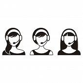 picture of telemarketing  - Black vector support or call center women icons - JPG