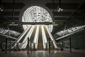 picture of escalator  - Moving escalator in the business center of a city - JPG