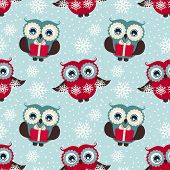 picture of snow owl  - Merry Christmas and Happy New Year - JPG