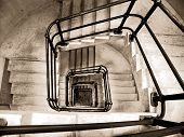 pic of lithographic  - Stairwell in a building at the Queensland University - JPG