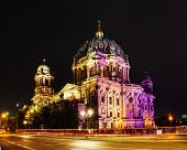 picture of dom  - Berliner Dom overview in the night time - JPG