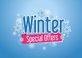 stock photo of fall decorations  - Winter Special Offers Word or Text  with Snow Flakes in Beautiful Blue Background with Lights - JPG