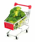 image of cruciferous  - Mini shopping trolley stuffed with juicy green broccoli isolated on white - JPG