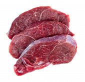 picture of flank steak  - Aerial of raw red meat steaks isolated against a white background - JPG