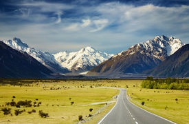 stock photo of mountain-range  - Landscape with road and snowy mountains Southern Alps New Zealand - JPG