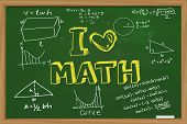 stock photo of mathematics  - Educational concept the words I Love Math with mathematics formula doodle written with chalk on green chalkboard - JPG