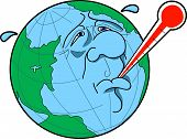 pic of global-warming  - cartoon graphic depicting the concept of global warming or sick earth - JPG