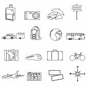stock photo of travel trailer  - travelling ana vacation transportation outline icons eps10 - JPG