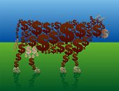 picture of cash cow  - Cash cow that is composed of dollar symbols is standing in a rich green pasture - JPG