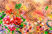image of leopard  - texture of print fabric striped leopard and flower for background - JPG