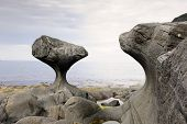 foto of tide  - Rock formed by wind and water at Norwegian coast at low tide - JPG
