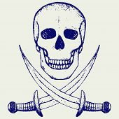 stock photo of skull cross bones  - Skull and crossed swords - JPG