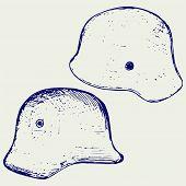 image of hitler  - German steel helmet World War II - JPG