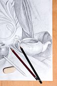 foto of pencil eraser  - Drawing of still life by graphite pencil with apple tea infuser and plaster palm leaf - JPG