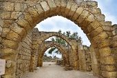 pic of crusader  - remains of the archs over the main streets of the ancient city of Caesarea - JPG