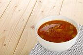 picture of vegetable soup  - Homemade vegetable soup in a soup bowl - JPG