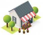 stock photo of isometric  - Vector isometric flower store building icon - JPG