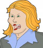 stock photo of yell  - Isolated cartoon of angry blond female yelling - JPG