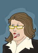 foto of argument  - Argumentative female executive with eyeglasses over blue - JPG