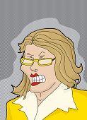 stock photo of temperance  - Woman in yellow having a temper tantrum - JPG