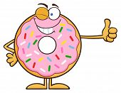 foto of eye-wink  - Winking Donut Cartoon Character With Sprinkles Giving A Thumb Up - JPG