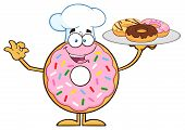 picture of donut  - Chef Donut Cartoon Character Serving Donuts - JPG