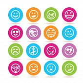 picture of emoticons  - set of 16 emoticon icons in colorful buttons - JPG