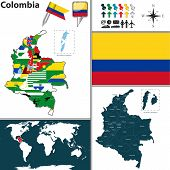 stock photo of bolivar  - Vector map of Colombia with regions and flags - JPG