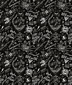 foto of silkscreening  - Vintage traditional tattoo biker seamless pattern - JPG