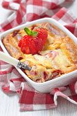 image of crepes  - Strawberry crepes roll baked with cheesecake sauce - JPG