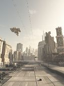 foto of fiction  - Science fiction illustration of a future city street with space cruiser and other aerial traffic overhead in hazy sunshine - JPG
