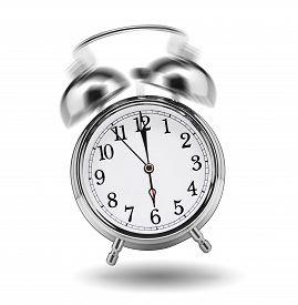 stock photo of analog clock  - ringing classical alarm clock isolated on white background - JPG