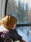 Child in funicular cabin