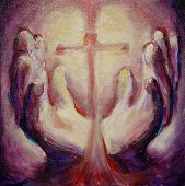 image of healing hands  - Fine art oil painting symbolising faith healing miracles - JPG