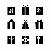 Постер, плакат: Silhouettes Of Gift Boxes Isolated