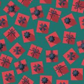 Постер, плакат: Seamless Pattern With Gift Boxes